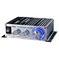 Lepy 2020A HI-FI Digital Stereo Class-T Audio Power Amplifier w/5A Power Adapter-Silver