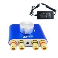 Mogu 30Wx2 Mini Bluetooth Amplifier HIFI Audio 2.0 Channel Amp with Power Supply-Blue