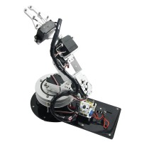 Assembled Aluminium 6DOF Robotic Robot Arm Clamp Claw & LD-1501 Servos & 32CH Controller for Arduino-Silver