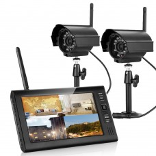 SY602E12 7inchTFT LCD 4CH DVR Wireless Security System +2 x IR Night Vision Camera