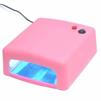 36W UV Nail Lamp Gel Curing Nail Art DIY Nail Dryer Art Tool with 4pcs 365nm UV Bulb-Pink