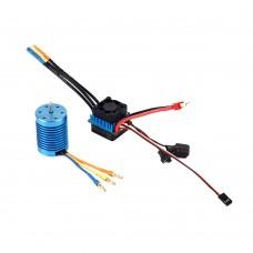 3650 4370KV 4P Sensorless Brushless Motor with 45A Brushless ESC for 1:10 RC Off-Road Car