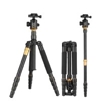 Q666 Professional Tripod Monopod Gimbal 360 Degree Swivel Fluid Head for Sony Pentax DSLR Camera Portable Cam Stand