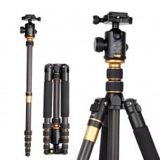 Q666C Professional Folding Carbon Fiber Tripod Monopod Gimbal PTZ for DSLR Camera Portable Traveling Tripod