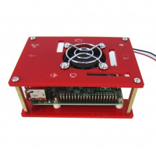 Laminated Shell Monolayer Case + Cooling System Fan for Raspberry Pi B B+ 2 3 -Red