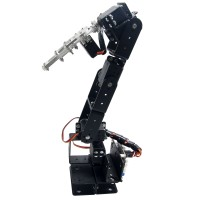 Arduino Robot 6 DOF Aluminium Clamp Claw Mount kit Mechanical Robotic Arm with Metal Servo Horn