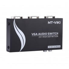 MT-VIKI Maituo 15-2AV VGA Video Audio Switch Switcher 2 Input 1 Output 15HDF with Auto Resolution Adjust Scaler