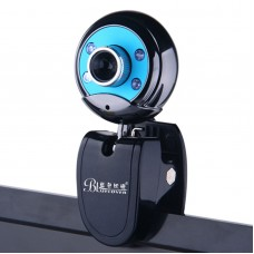 Bluelover W9 Camera HD Night Vision Lights Webcam for Desktop Laptop Computer USB Free Drive-Blue