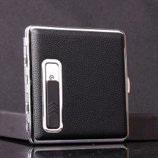 Leather Windproof Cigarette Case Box with USB Lighter Electronic Recharable Refillable Lighter