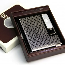 Windproof Cigarette Case Box with USB Lighter Electronic Recharable Lighter for 15pcs