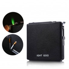 Metal Cigarette Case Automatic Ejection Automatic Flip Box with Windproof Lighter for 20pcs-Black