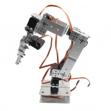 Aluminium Robot 6 DOF Arm Mechanical Robotic Arm Clamp Claw Mount Kit w/Servos Servo Horn for Arduino-Silver
