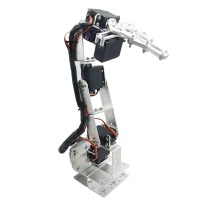 Aluminium Robot 6 DOF Arm Clamp Claw Mount Kit Mechanical Robotic Arm for Arduino-Silver