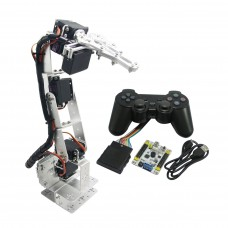 Assembled 6 DOF Aluminium Mechanical Robotic Arm with Clamp Claw & LD-1501 Servos & 32CH Controller for Arduino-Silver