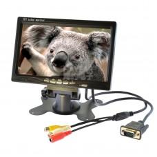 "7"" LCD Mini TV TFT Color Monitor AV Display 1024x600 AV VGA Interface for Car"