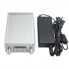 T15B 5W 15W Audio Wireless Bluetooth FM Transmitter Broadcast Radio Station 87-108Mhz + Power Supply for Car-Silver