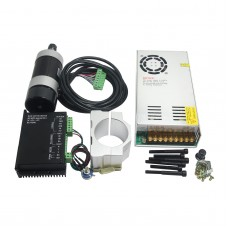 CNC ER11 48V 400W Air-Cooled Brushless Spindle Motor + Driver Controller + Motor Mount + Power Supply for Engraving Machine