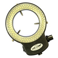 Adjustable 6500K 144 LED Ring Light Illuminator Lamp for Microscope Camera Magnifier Black