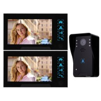 "WD02K-12 7"" Color LCD Video Door Phone Wired Doorbell Video Intercom 1 to 2 Infrared Night Vision"