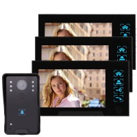 "WD02K-13 7"" Color LCD Video Door Phone Wired Doorbell Video Intercom 1 to 3 Infrared Night Vision"