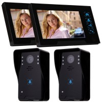 "WD02K-22 7"" Color LCD Video Door Phone Wired Doorbell Video Intercom 2 to 2 Infrared Night Vision"