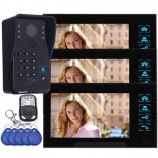 "WD02SR-13 7"" Color LCD Video Door Phone Door Access Control System 1 to 3 for Security"