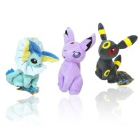 Pocket Monster Pokemon Eevee Plush Toy Doll Eevee Stuffed Plush Toys Figure Gift for Kids 3Pcs