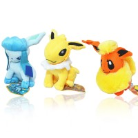 Pocket Monster Anime Pokemon Eevee Plush Doll Stuffed Plush Toys Figure Gift for Kids 3Pcs