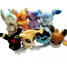 Pocket Monster Anime Pokemon  Eevee Series Plush Doll Stuffed Plush Cartoon Toys Gift for Kids 8Pcs