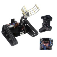 Smart Tracked Robot Car Chassis Caterpillar w/ 4DOF Mechanical Arm&Servo Controller&Handle for DIY