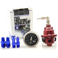 TOM1 Universal Adjustable Fuel Pressure Regulator Booster Valve with Pressure Gauge for Car