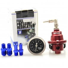 TOM1 Universal Adjustable Fuel Pressure Regulator Booster Valve with Pressure Gauge for Car
