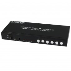 HDMI 4x1 Splitter Quad Multi Viewer with Seamless Switcher over Cat6 50m Extender HDS-841SLS50