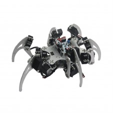 18DOF Aluminium Hexapod Spider Six Legs Robot Kit w/ 18pcs Servo Horn & Ball Bearing Fully Compatible w/ Arduino-Silver