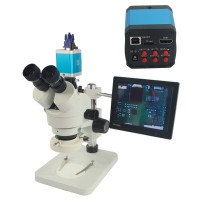 7X-45X Trinocular Industry Zoom Stereo Microscope with 14MP HD Camera DVR C Mount