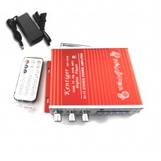 Kentiger V10 Audio Amplifier Bluetooth HiFi Class D Stereo Audio Power AMP + Power Supply Red