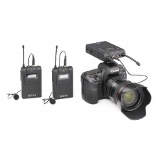 BOYA BY-WM8 UHF Dual Channel Wireless Lavalier Microphone System for ENG EFP DSLR Video