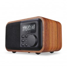 Wood Bluetooth Audio Loudspeaker Subwoofer Support FM U-Disk TF Card Clock with 8G TF Card D90