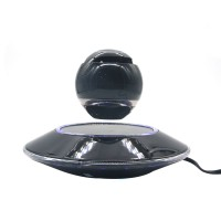 Wireless Speaker Bluetooth Floating Magnetic Levitating Speaker LED for Christmas Gift Black