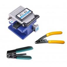 FC-6S Optical Fiber Cleaver + CFS-2 Fiber Stripper + Cable Stripper Tool for FTTX FTTH