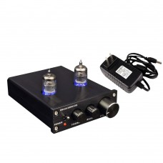 ZHILAI D2 HIFI Digital Audio Preamp 6J1 Valve Tube Preamplifier Dual Channel Treble Bass with Power Adapter Black