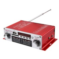 Kentiger HY-602 Audio Amplifier Wireless HiFi Stereo with FM IR Control FM MP3 USB Playback Red