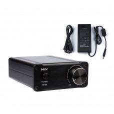 HV50 Hifi Audio Digital Power Amplifier TDA7492 50Wx2 Home AMP Aluminum Class D with Power Supply Black