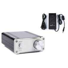 HV50 Hifi Audio Digital Power Amplifier TDA7492 50Wx2 Home AMP Aluminum Class D with Power Supply Silver