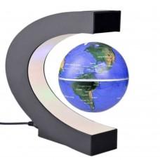 C Shape LED World Map Magnetic Levitation Floating Globe Antigravity Light Gift Decoration Blue
