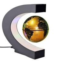 C Shape LED World Map Magnetic Levitation Floating Globe Antigravity Light Gift Decoration Gold