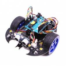 Arduino UNO Intelligent Bat Car Robot Kit R3 Programmable Obstacle Avoidance Bluetooth Remote Control DIY