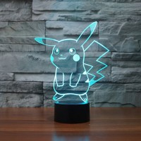 Pokemon Go Pikachu 3D Night Light 7 Color Change LED Desk Lamp Touch Room Decor