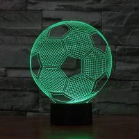 Acrylic 3D Soccer Football LED 7 Color Changing Night Light USB Touch Desk Table Lamp for Gift