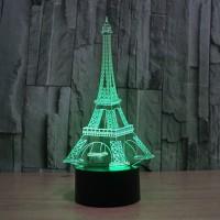 3D Illusion Eiffel Tower Bedroom Night Light Color Change LED Desk Table Lamp